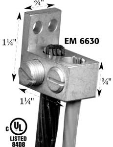 Double-hole ground lug with perpendicular mounting tang, EM6630