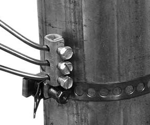 Ground wire holes perpendicular to strap
